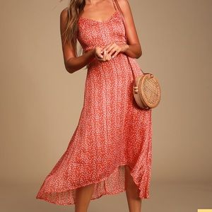 Floral print high-low midi dress